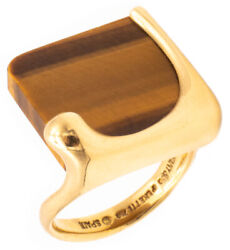And Co. 1980 Elsa Peretti Splash Ring In 18 Kt Gold With Tiger Eye Great