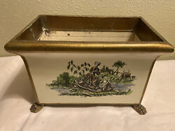 Vintage Cannel And Chaffin Italian Tole Metal Cachepot Planter Hand-painted C.1968
