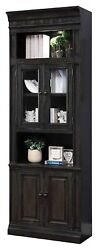 Parker House - Washington Heights 32 In Glass Door Cabinet In Washed Charcoal...