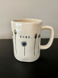 Early Rae Dunn Magenta Large M Stamped Home Mug With Flowers Excellent