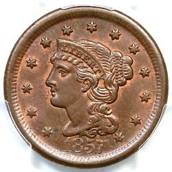 1857 N-1 Pcgs Ms 64 Bn Lg Date Braided Hair Large Cent Coin 1c