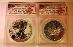 2019 Silver Eagle And Canadian Maple Leaf Pride Of 2 Nations Anacs Certified