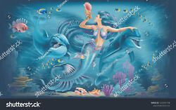 Mermaid With Delfines Daltile Ceramic Tile Sho9 Reverse Dot Mural 3x6 Ft And 4x8