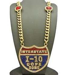 I-10 Pendant And 30 10mm Ruby Miami Cuban Link Chain