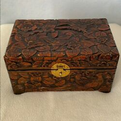 Beautiful Birds Of Paradise Carved Wooden Chest
