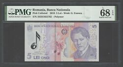 Romania - 5 Lei 2018 Pick Unlisted Polymer Uncirculated Graded 68