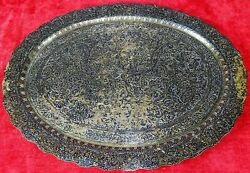 Koftgari Tray. Damascinated In Silver And Bronze. Middle East. Xix Century.