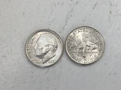 1962-d Roosevelt Silver Dime Roll - 50 Uncirculated Coins -112