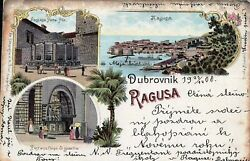 Croatia - Dubrovnik-ragusa- Very Rare Old Lithograph Post Card From 22.12.1900