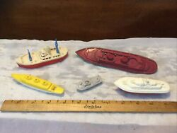 Lot Of 5 Vintage Plastic Boat/ship Toys-ardee-banner-renwal