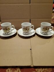 Royal Warwick Sunflower England Set Of 3 Cups And Saucers 3 Tall