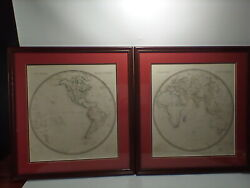 Society For The Diffusion Of Useful Knowledge East And West Hemisphere Maps 1844