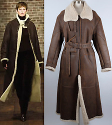 Sz M Purple Label Collection Shearling Aviator Coat Leather