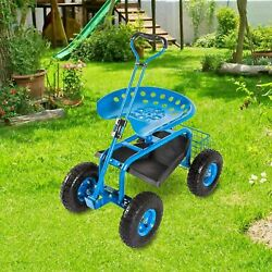 Kinbor Rolling Garden Cart W/ Extendable Steering Handle Seat And Basket Blue