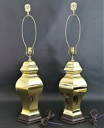 2 Vintage Asian Chinoiserie 6 Sided Brass Ginger Jar Table Lamps With Wood Base