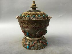 11'' Tibet Silver Gold Turquoise Red Coral Crystal Consecrate Cup Jar Vase Bowl