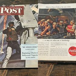 The Saturday Evening Post February 5 1944 Wwii Coca Cola Mead Schaeffer