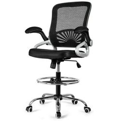 Drafting Chair Lumbar Support Mid Back Office Mesh Task Chairs With Flip-up Arms