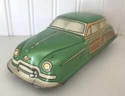 Vintage Tin Toy Car-marx Toys-woodie Wagon-litho-friction-green-40's
