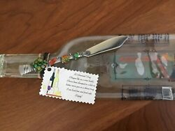 Slumped Melted Glass Bottle Cheese Tray Platter Riesling And Beaded Handle Knife
