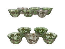 Set Of 11 And Co. Silver And Glass Pierced Dessert/finger Bowl Holders