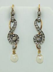 Fabulous Victorian 18k And Sterling Silver Single Cut Diamond And Pearl Earrings