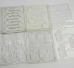 Lot Of 6 Vintage Plastic Chocolate Candy Molds-easter, Halloween, Cars, Trucks