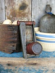 Early Antique Wood And Tin Nutmeg Grater