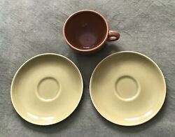 Russel Wright Iroquois Casual China Coffee Cup And Saucers 3 Pieces Brownandgreen