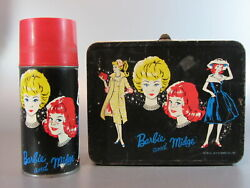 Vintage Lunch Box Canadian Barbie And Midge Metal Lunchbox With Thermos 1962