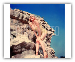 Sexy Marilyn Monroe 1960 Poses In Bathing Suit Stands On Rock Rare Press Photo