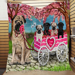 Personalized Pet Lovers I Love Cart Pug Dogs Quilt