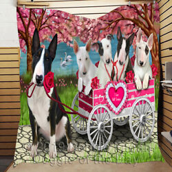 Personalized Pet Lovers I Love Cart Bull Terrier Dogs Quilt