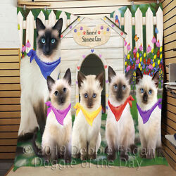 Personalized Spring Siamese Cat House Pet Lovers Quilt