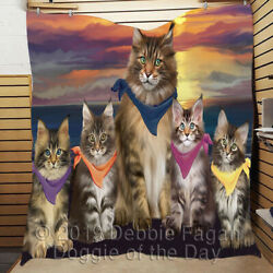 Personalized Family Sunset Maine Coon Cats Lovers Quilt