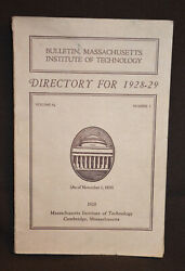 Vintage 1928-29 M.i.t. Directory Of Officers And Students Cambridge Ma