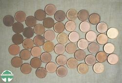 Roll Of 50 Bu Blank Planchet Cents - Mostly Red/rb