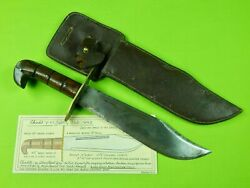 Rare Us Ww2 Chindit V-44 Type Large Bowie Fighting Knife W/ Sheath
