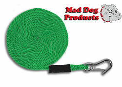 Green Boating Launch Line W/ Stainless Steel Clip- 5/8 X 25and039 Line - Made In Usa
