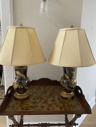 Antique Pair Of Tortoise Shell And Brass And Gold Gilt Table Lamps