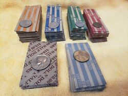 140 Coin Rolls 30-penny, 30-dime, 30-nickel, 30-quarter, 10-half, And 10-dollar