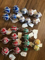 Vintage Handmade Christmas Ornament Collectable Beaded Trimmed Set Of 23