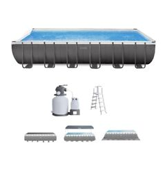 Intex 24and039 X 12and039 X 52 Rectangular Ultra Xtr Frame Swimming Pool W/ Sand Filter