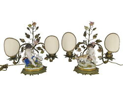 German Volkstedt Pair Of Porcelain And Bronze Lamps D11475