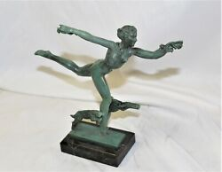 Art Deco Figurine Girl W-goats By Fayral