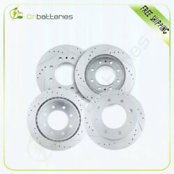 F + Rear Drilled And Slotted Brake Rotors For 2001 - 2003 Chevrolet Silverado 3500