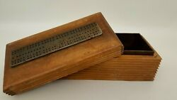 Antique 1880s Cw Lecount Cribbage Board On Carved Wood Game Box Arrow Design