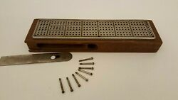 Antique Wood Cribbage Board With Cast Aluminum Top
