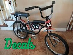 Vintage 1970and039s Huffy Thunder Road Bike Amf Bmx Bicycle Decals Only