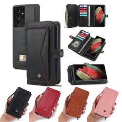 For Samsung S21 Ultra Note 10 20 S9+ S10 Leather Wallet Magnetic Flip Cover Case